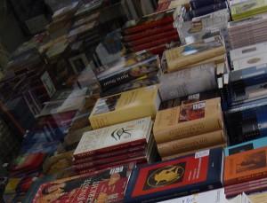 Gedruckte Bücher in Auslage einer Buchhandlung